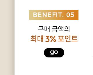 benefit5,구매 금액의 최대 3% 포인트